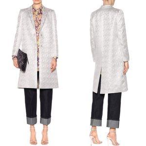 Dries Van Noten Silver Jacquard Brocade Long Coat